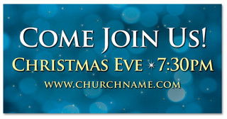 4x8 Come Join Us Christmas Eve church banner in blue