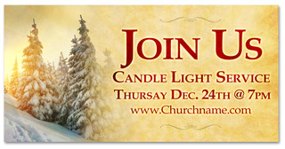 4x8 Outdoor banner - Candle Light Christmas Eve service banner