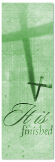 """Green Easter Banner - """"It is Finished"""""""