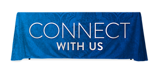 Blue Connect with Us pattern table throw