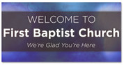 welcome banner in blue