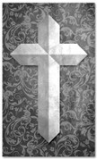 Etched Cross - Gray pattern fabric banner