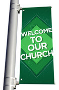 DS Light Pole Banner - Pattern Design 1 Green Welcome