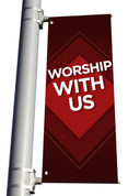 DS Light Pole Banner - Pattern Design 1 Red Worship With Us