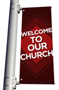 DS Light Pole Banner - Pattern Design 1 Red Welcome