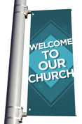 DS Light Pole Banner - Pattern Design 1 Teal Welcome