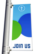 DS Light Pole Banner - Circles Blue Green Join Us