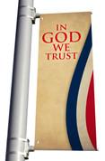 DS Light Pole Banner - Patriotic Stripes In God We Trust