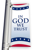 DS Light Pole Banner - Patriotic White W/ Stripes In God We Trust