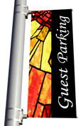 Light Pole Banner - Stained Glass Style 2 Guest Parking DS