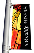Light Pole Banner - Stained Glass Style 2 Worship With Us DS