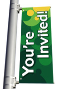 DS Light Pole Banner - Bubbles Green You're Invited