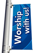 DS Light Pole Banner - Waves Blue Worship With Us