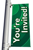 DS Light Pole Banner - Waves Green You're Invited