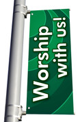 DS Light Pole Banner - Waves Green Worship With Us