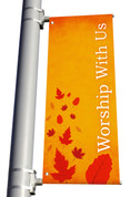 Light Pole Banner - Harvest Worship With Us DS