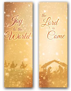 2x6 Gold nativity scene - Christian Christmas banner set of 2