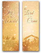 2x6 Gold nativity scene - Christian Christmas banner set of 2