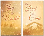3x5 Gold nativity scene - Christian Christmas banner set of 2