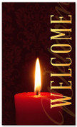 3x5 Red Candle Christmas banner for church - Welcome