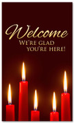3x5 Red Candles Christmas banner for church - Welcome