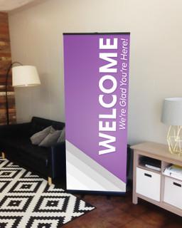 Welcome retractable purple silver stripes