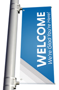 DS LIGHT POLE BANNER - Welcome Silver Stripes Blue
