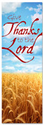 give thanks to the lord wheat field harvest fall banner