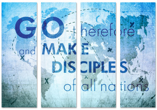 Go Therefore Make Disciples Missions Church Banner Collage Blue
