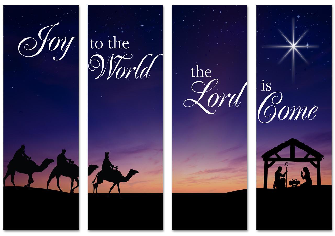 NXM010 Nativity Scene 4 Panel - Church Banners .com
