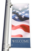 DS Light Pole Banner - Patriotic American Flag Welcome