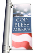 DS Light Pole Banner - Patriotic American Flag God Bless America