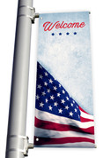 DS Light Pole Banner - Patriotic Waving Flag Welcome