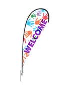 Teardrop Flag Hands Welcome