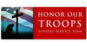 Outdoor Vinyl Banner - Patriotic Honor Troops Red