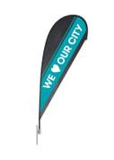 Teardrop Flag - We Love Our City Teal Stripe