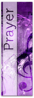 Christian Praise Banner - Purple musical notes