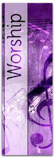 Christian Church Banner - Purple Musical Notes