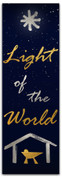 Christmas banner light of the world nativity scene