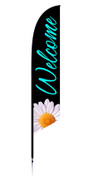 Feather Banner - Black flower - Welcome