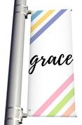 DS Light Pole Banner Pastel Stripes - Grace