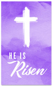 He is Risen purple watercolor banner