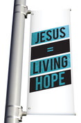 Vinyl light pole banner teal