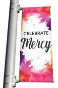Celebrate Mercy light pole banner for Easter