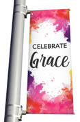 Celebrate Grace Easter light pole banner in vinyl double sided