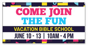 vbs 2019 banner in with colorful objects