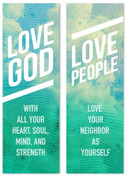 Love God Love People Clouds Green Banner
