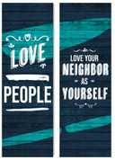 Love People set of 2 fabric banners