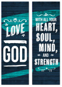 Love God fabric banner set of 2
