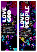 Commandment Banner set in mosaic purple
